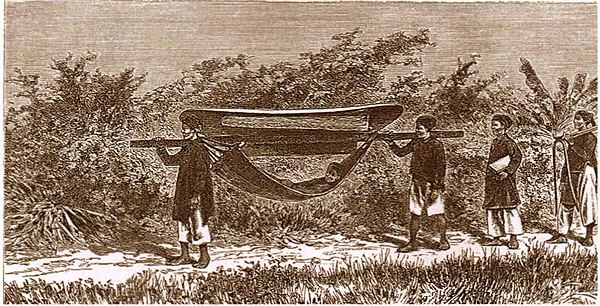 Carried by hammocks with parasols