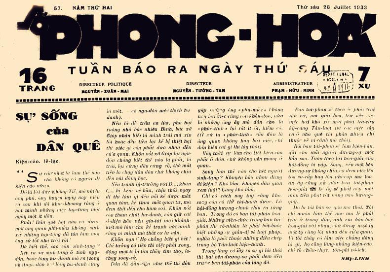 Phong hóa 1933 - Tự Lực Văn Đoàn - Holylandvietnamstudies.com