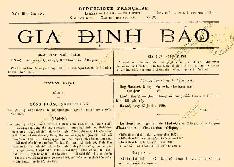 Gia Định Báo - eerste Vietnamese koerant 1865 - Holylandvietnamstudies.com